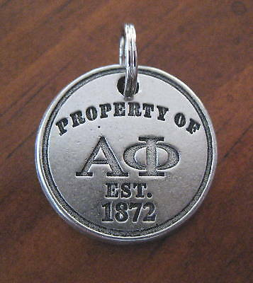 new PROPERTY OF ALPHA PHI Est 1872 PEWTER CHARM jewelry pendant handbag tag bead