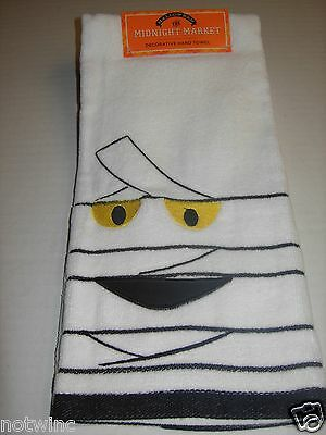 One Happy Halloween Midnight Market Bathroom Hand Towel Mummy Ghost Design NWT
