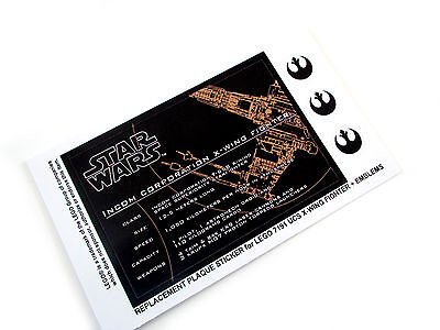 CUSTOM STICKER for UCS Lego 7191 X-WING FIGHTER, XWING MODELS, DISPLAYS, ETC