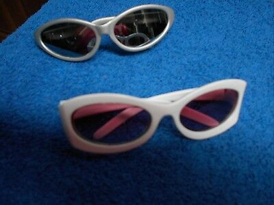 BUILD A BEAR 2 PR SUNGLASSES SILVER & WHITE WITH PINK LENS VGC CUTE