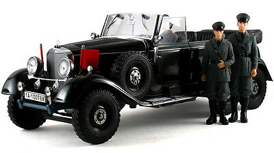 1938 Mercedes Benz G4 with Figures 1:18 Scale (Black)