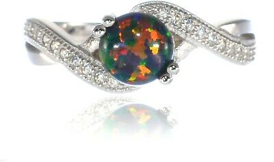 Infinity Celtic Round Cut Black Fire Opal Birthstone Sterling Silver Ring - 6mm