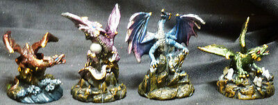 "MINI DRAGONS SET of 4   H3""    Figure  Statue"