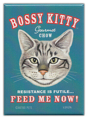 Retro Cats Refrigerator Magnets: BOSSY KITTY CHOW | Vintage Advertising Art