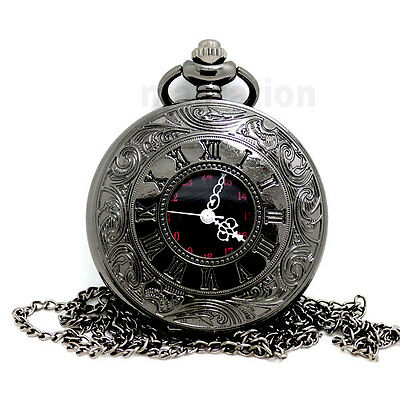 Black Pocket Watches Necklace Pendant Clamshell with Chain Mens Christmas Gift