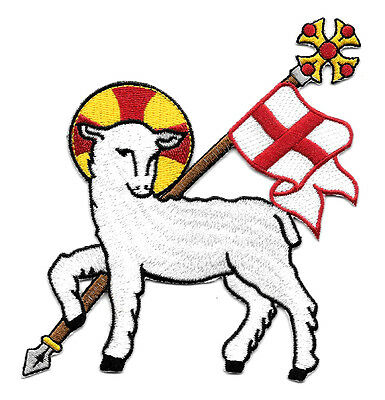 Lamb Of God - Agnus Dei -Liturgical-Vestment-Embroidered Iron On Applique Patch