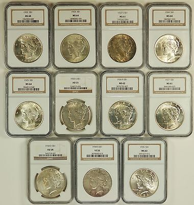 """PEACE DOLLAR  LOT - 11 NGC CERTIIFIED 1922-1935 """"VERY NICE COLLECTION"""""""