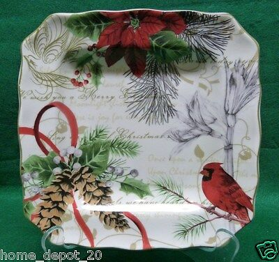 222 FIFTH HOLIDAY WISHES SALAD PLATE CHRISTMAS CARDINAL  POINSETTIA BRAND NEW
