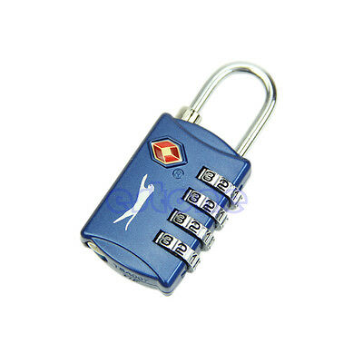 4 Dial Digit Combination Suitcase Luggage Metal Code Password Lock Padlock Blue