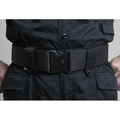 Police Military Adjustable Fastener Dual-Safety Tactical Nylon Waist Belt Black