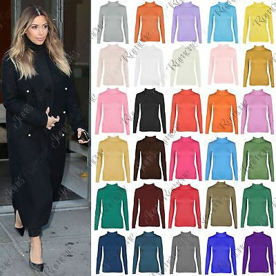 New Womens Plain Turtle Polo Neck Long Sleeve Basic Stretchy Jumper T-Shirt Top