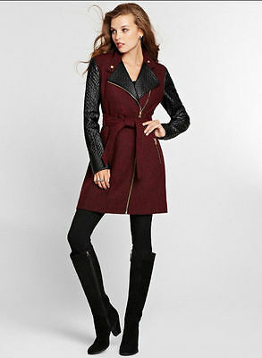NWT GUESS $198!! Calimesa Wool Blend Faux Leather Coat Dark Red Black L 8 9