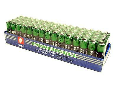 Lot of 60 AA Batteries EXTRA Heavy Duty 1.5 V Powercell 60 Pack 1100m Toys
