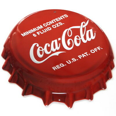 Coca-Cola Bottle Cap Tin Metal Sign Embossed Tin Kitchen Soda Decor 18 x 16
