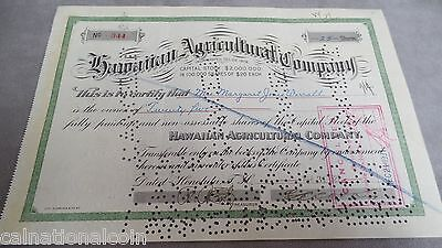 Hawaiian Agricultural Company dated March 31, 1927  25 shares capital stock