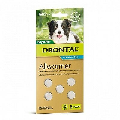Drontal Allwormer Tablets for Medium Dogs 10kg - 5 Tablets Bay-O-Pet