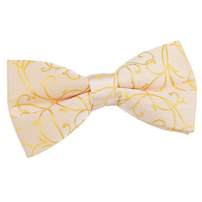 New Dqt High Quality Swirl Gold Mens Pre-Tied Bow Tie
