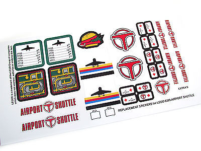 CUSTOM DIE CUT STICKERS for Lego 6399 AIRPORT SHUTTLE CUSTOM BUILDS