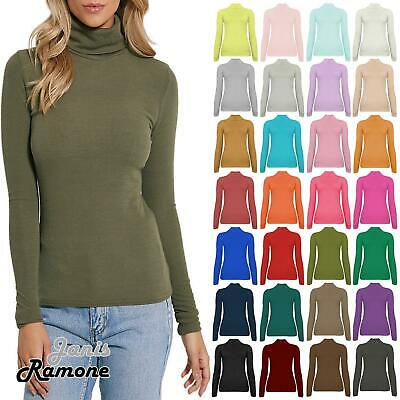 New Womens Plain Ribbed Knitted Polo Turtle Neck Stretch Long Sleeve Jumper Top