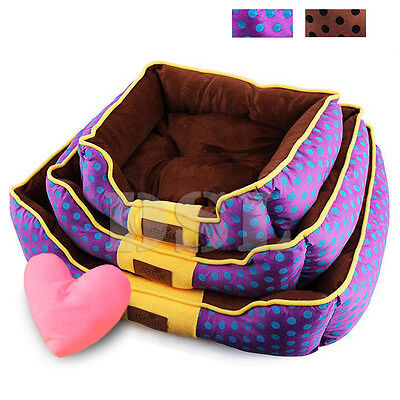 Luxury Soft Fabric Washable Dog Pet Warm Basket Bed Fleece Lining Free Pillow BD