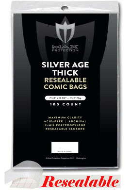 500 Max Pro Resealable Thick Silver Age Comic Book Bags 7-1/4x10-1/2 Acid Free