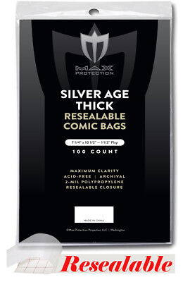 Pack 100 Max Pro RESEALABLE Silver THICK Comic Book Acid Free Archival Poly Bags