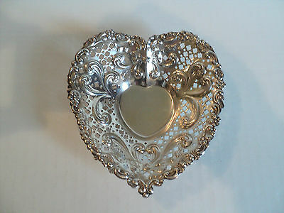 """Gorham Sterling Silver Reticulated 5"""" Heart Shaped Bowl / Dish, 75 grams"""