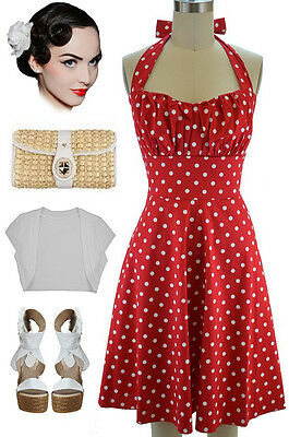 PLUS SIZE 50S Style RED with White POLKA DOTS Pinup Betty ...