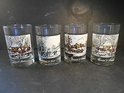 Arby's Currier & Ives Collector's series 1978 set of 4 Holiday glasses, 3 scene