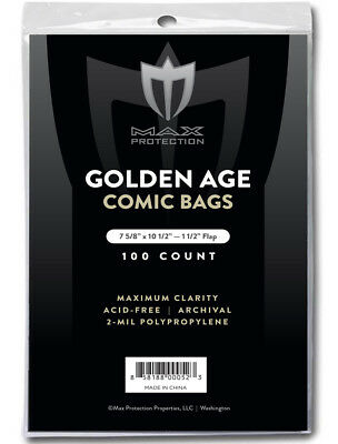 2 packs - 200 pc MAX PRO GOLDEN AGE COMIC BOOK BAGS 7-5/8 x 10-1/2 SLEEVES