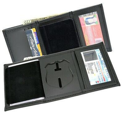 Badge Wallet NY NJ Police Officer Tri Fold Leather Recessed Black Perfect Fit