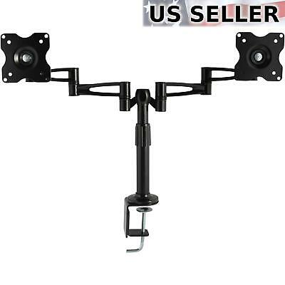 """Dual Computer Monitor Desk Mount 3-Way Articulating Stand LED LCD Screens 10-25"""""""