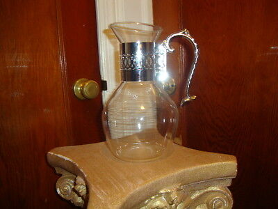 Antique Vintage Silver Carafe Pot Urn Coffee Tea Pot / Glass Pitcher Warmer Rare