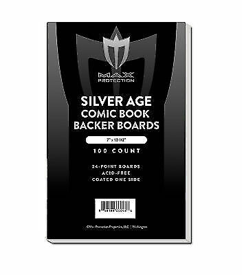 400 Max Pro Silver Age / Era Comic Book ACID FREE Backing Boards white backers
