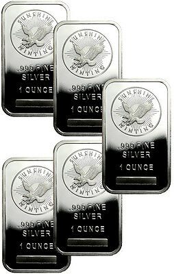 Lot of 5 Sunshine Minting, Inc. 1 oz .999 Fine Silver Bar SKU33421