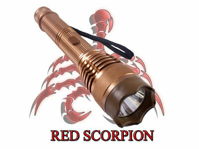 Red Scorpion Metal Stun Gun 359 - 260 Million Volts +Controllable LED Flashlight
