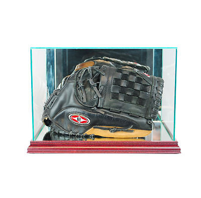 New Real Glass Baseball Glove Display Case With Cherry Wood And Mirror Bac