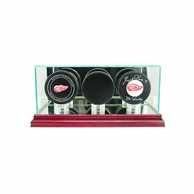 Glass Triple Hockey Puck Display Case Uv Protection Cherry Wood And Mirror Back