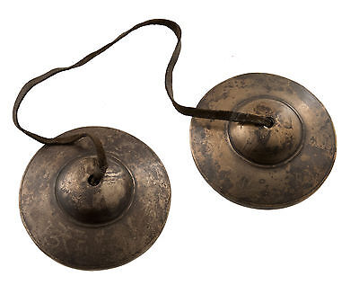 ANCIENNES CYMBALES CHAPPA Tingsha TIBETAINES 7.8 cm TIBET NEPAL 3515 B10