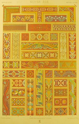 MIDDLE AGES ornamental design, antique French chromolithograh print, ca. 1885