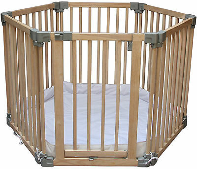 Clippasafe NATURAL WOODEN PLAYPEN WITH MAT Baby Home Safety BN