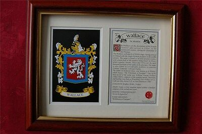 WALLACE Heraldic FRAMED Coat of Arms - Family Crest and History
