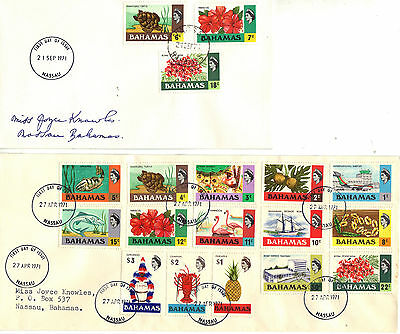 BAHAMAS 1971 DEFINITIVE Stamps Set 18v on 2 FIRST DAY COVERs Scarce! Ref:CK177