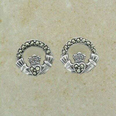 Irish CLADDAGH Stud Earrings - .925 sterling silver - With MARCASITE Gemstone