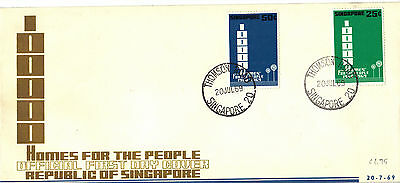 SINGAPORE 1969 HOMES Stamps 2v Official UNADDRESSED FIRST DAY COVER RE:CK157