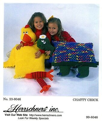 Chatty Chick Pillow Friend ~ Herrschners Crochet Kit OOP rare