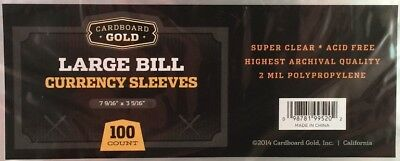 100 Cardboard Gold Large Bill Currency Sleeves Archival Safe