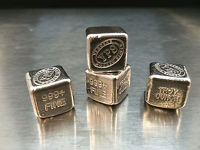 "1 oz Hand Poured 999 Silver Bullion Bar ""Cube"" by YPS - Yeager's Poured Silver"