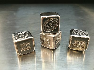 "1oz Hand Poured 999 Silver Bullion Bar ""Cube"" by YPS"