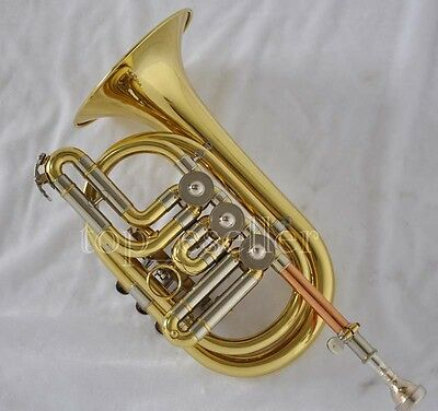 Professional Gold Lacquer Rotary Valve Cornet Bb trumpet Horn With Case
